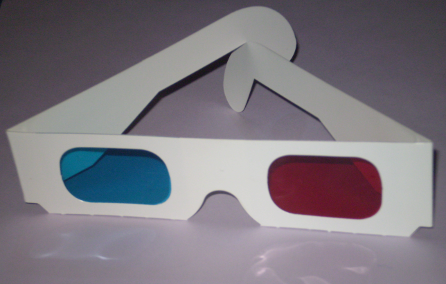 Glasses for viewing anaglyph technology for